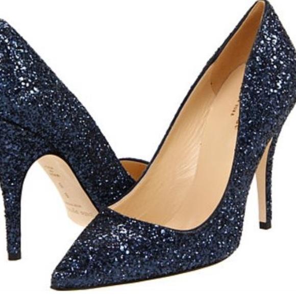 Navy Blue Glitter Heels